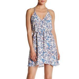Lush Racerback Floral Faux Wrap Dress